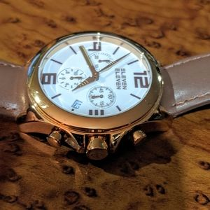 Eleven Eleven rose gold plate chronograph watch